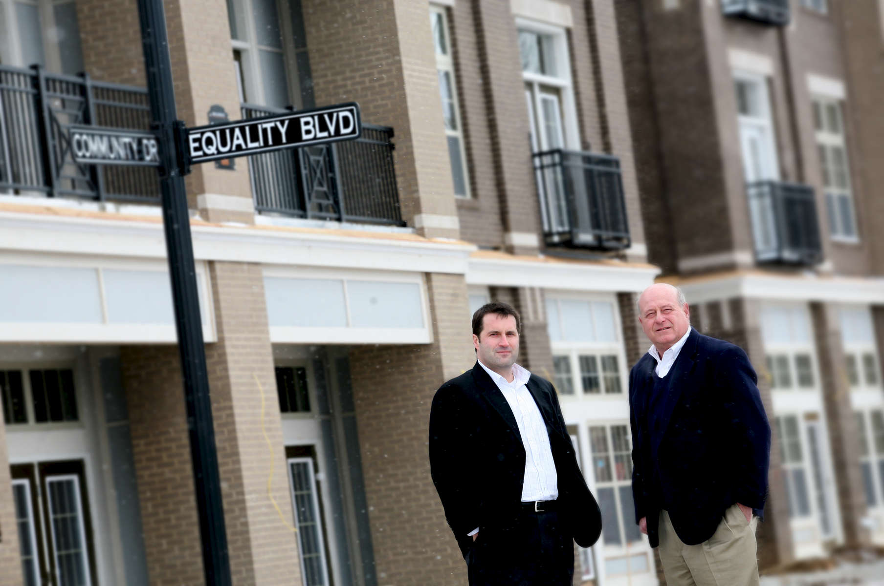 Developers Todd May, left, and John C. Hart Jr. of JC Hart Apartments.
