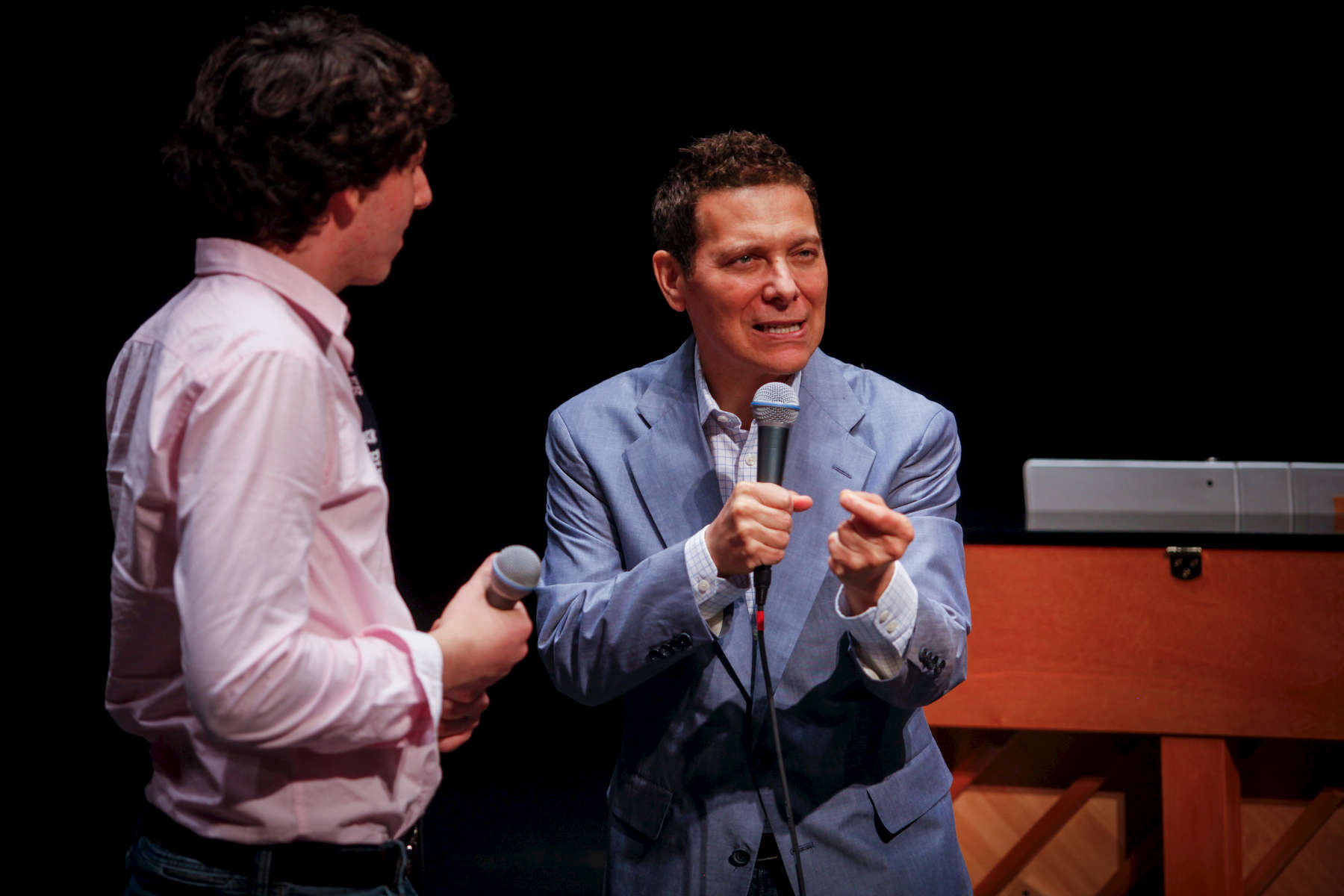 Michael Feinstein teaches one-on-one during the Great American Songbook Academy.