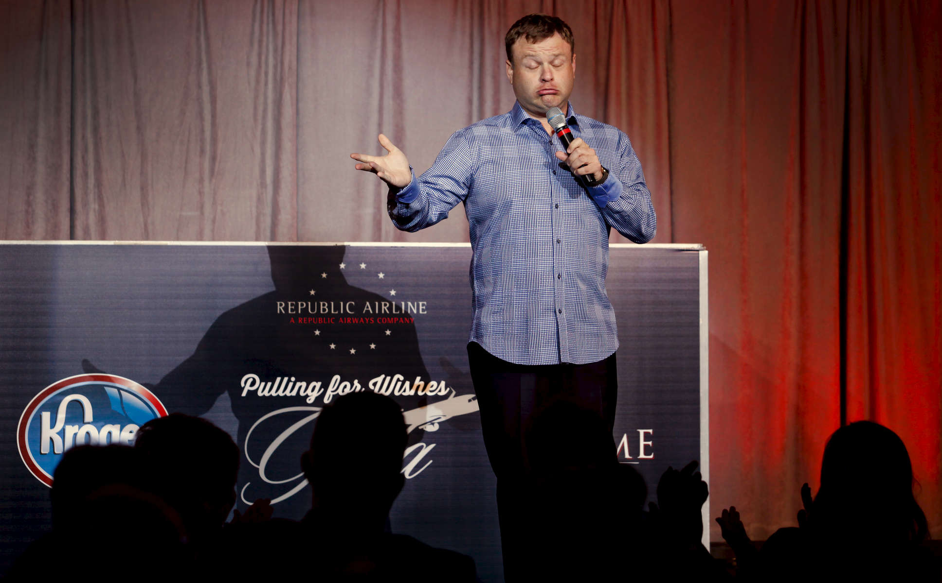 Comedian Frank Caliendo performs at Republic Airways Pulling for Wishes Gala.Event photography by Perry Reichanadter, Wayne Images