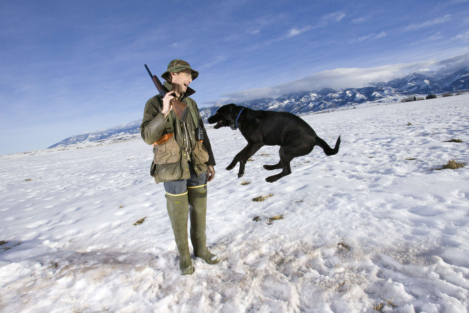Portrait of bird hunter Gifford Cochran and Girdie.