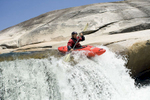 Phil Boyer kayaking 'upper cherry creek'. high sierras, california.