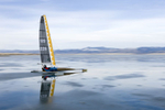 Dave Gluek ice boating at Canyon Ferry, Montana.