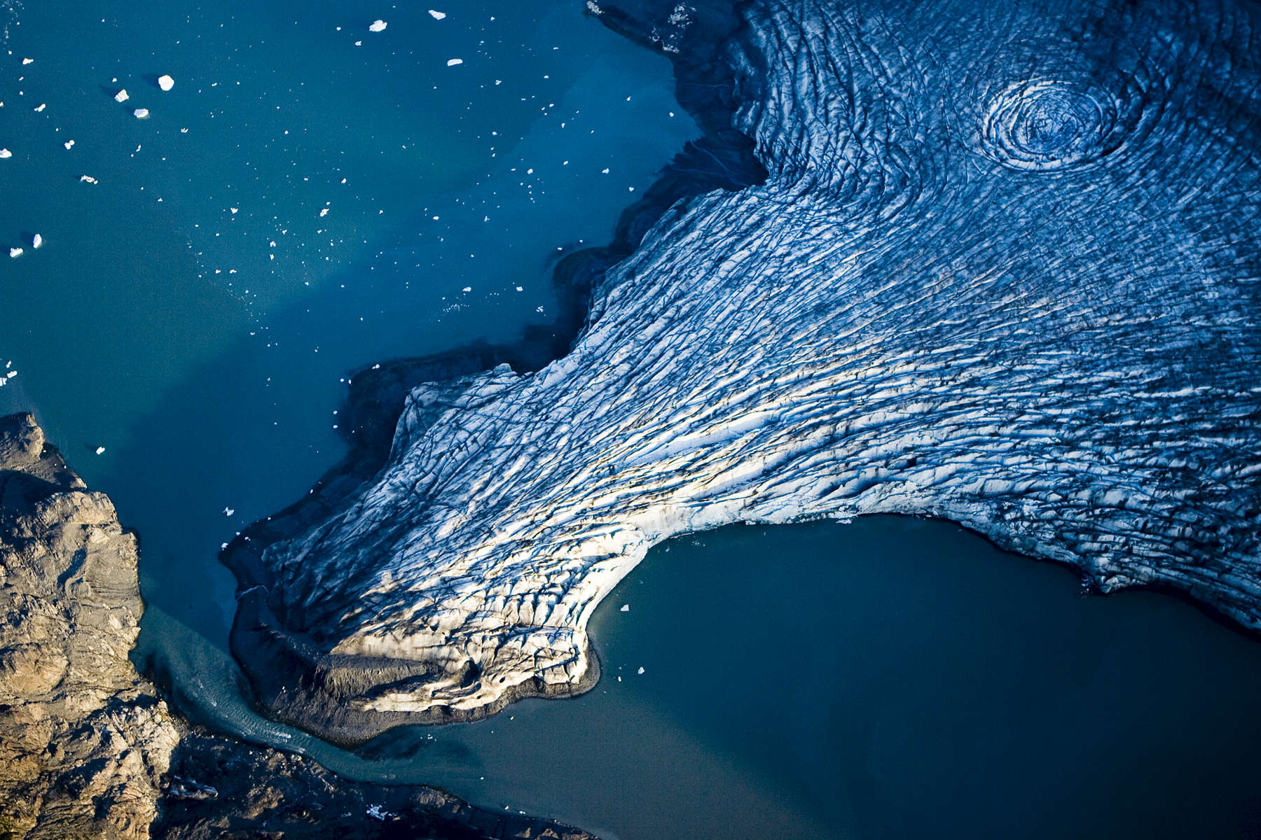 Aerial images of the {quote}Columbia Glacier{quote}  in Alaska