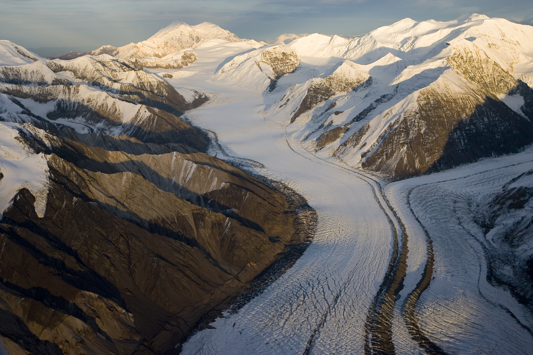 Aerial images of glaciers and mountains in Wrangell St. Elias range, Alaska