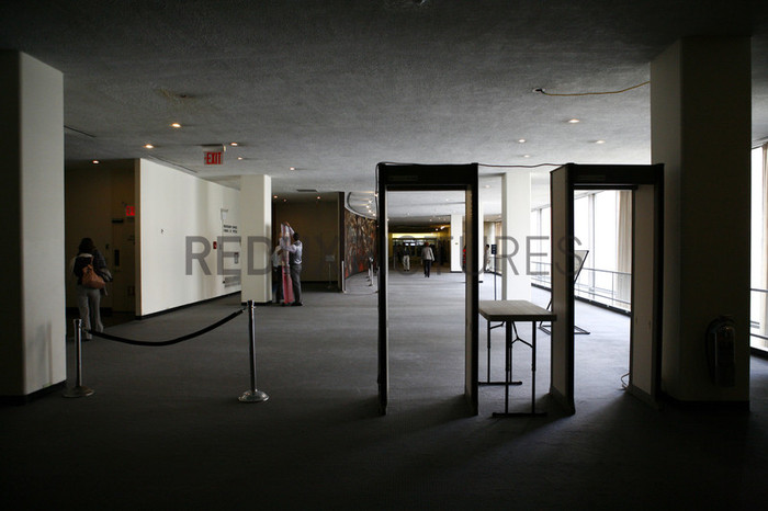 Security checkpoint scene at the United Nations.