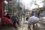 In the Mexican border city of Tijuana, thousands of Central American migrants traveling together in an exodus known as the {quote}Caravan{quote} continued arriving in the city November 15, 2018. Here, migrant kids play in the temporary shelter operated by the Mexican government at the Unidad Deportiva Benito Juárez sports center.