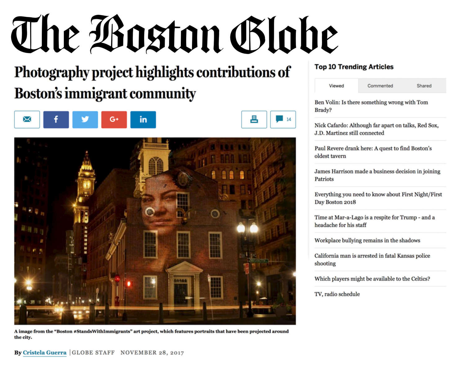 The Boston GlobeNOVEMBER 28, 2017Photography project highlights contributions of Boston's immigrant communityView Article