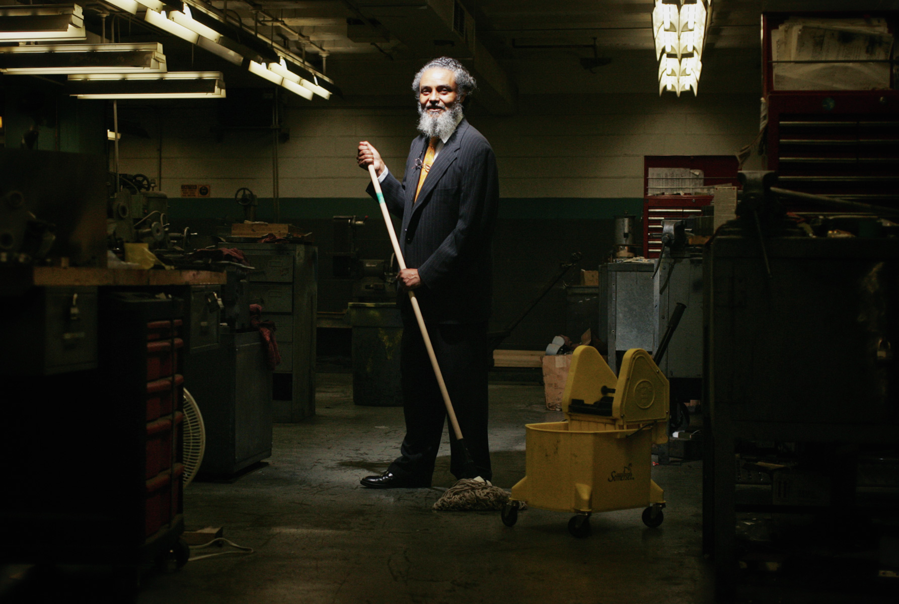7/7/05 -- Boston -- State Representative Byron Rushing was a night janitor at Smith-Corona typewriter plant in Syracuse, NY mopping, dusting and sweeping.  {quote}I did a lot of reading,{quote} Rushing said.  Photo by Erik Jacobs/Globe Photo