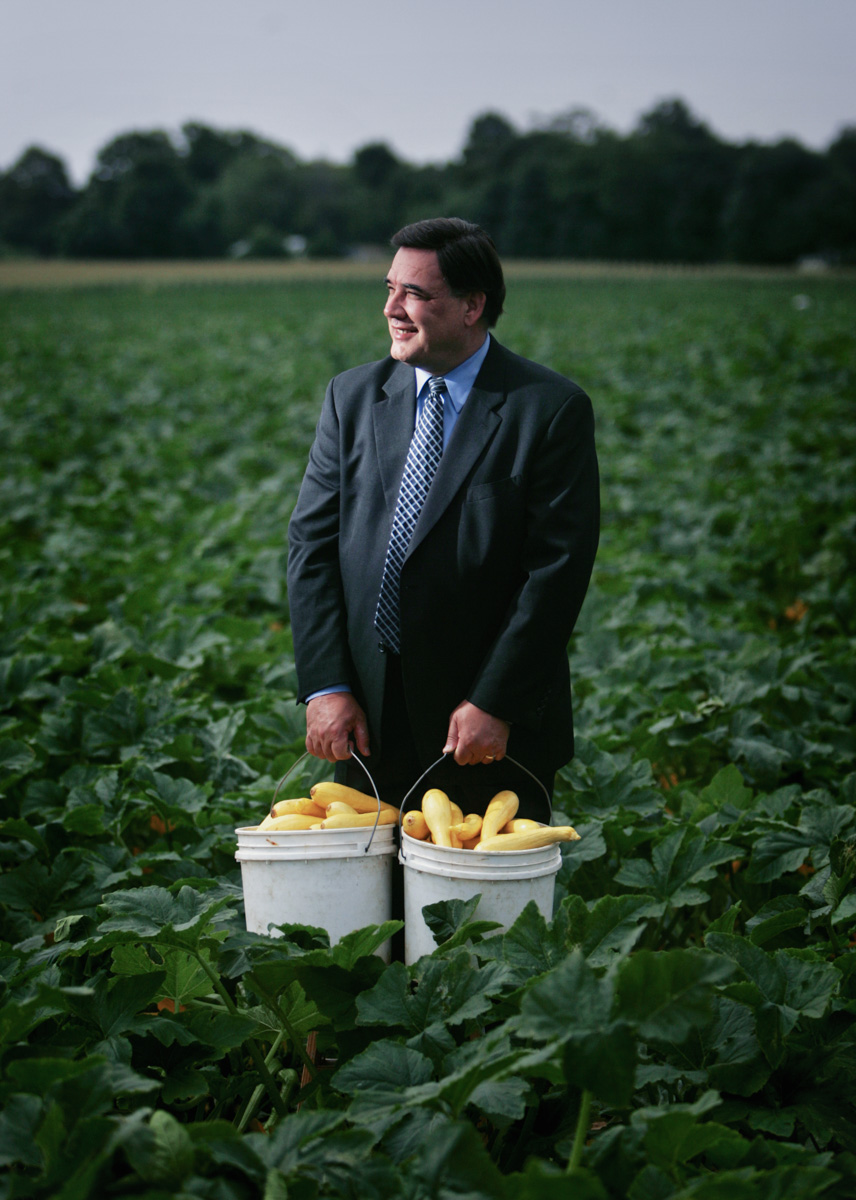 7/13/05 -- Dighton -- Portrait of Senator Marc Pacheco (cq) at Reed Brothers Farms in Dighton where he worked as a teenager picking vegetables.  As Senator, Pacheco fought to have the land on which the farm sits put on the agricultural preservation list, ensuring that it will not be used for commercial or residential development.Globe Photo/Erik Jacobs