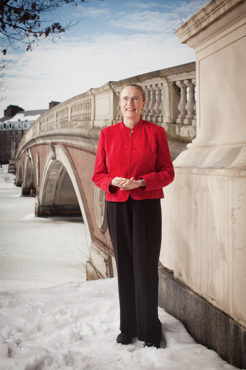 2/7/11 -- Portrait of Mary Jane England, president of Regis College.  England is photographed in front of the John W. Weeks Memorial Footbridge in Cambridge, Mass. Photo by Erik Jacobs/Jacobs Photographic
