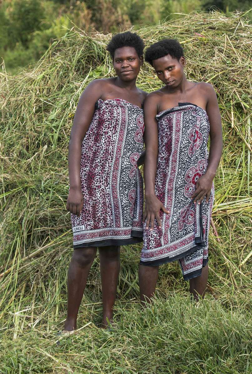 Sisters after bathing, Rwanda