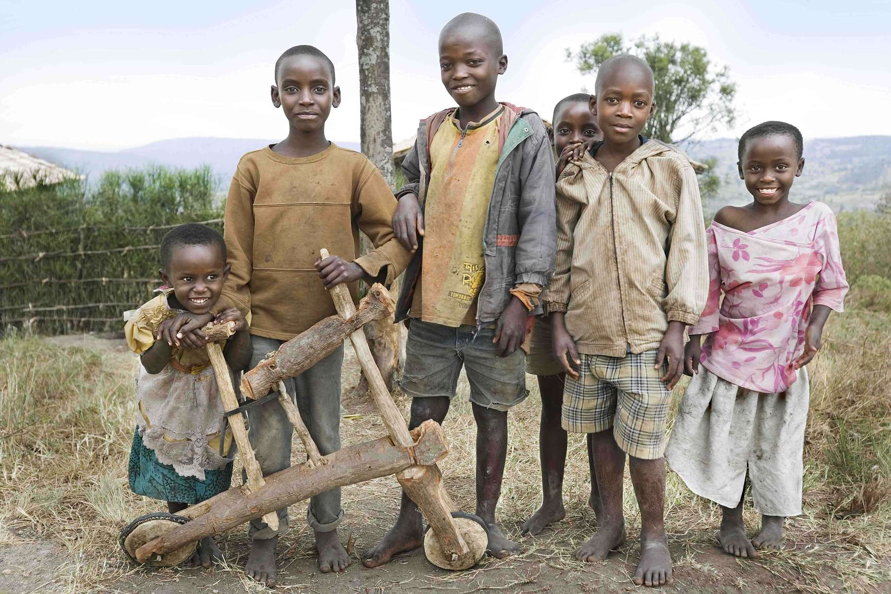 Kids and homemade bike, Rwanda