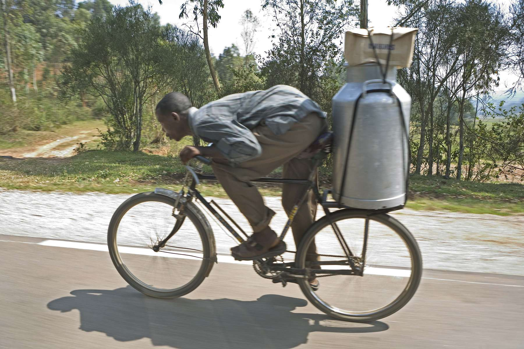 Taking milk to market, Rwanda