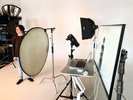 Behind the scenes during photo shoots at JAM Creative's photography studio in Burlington, Vermont.