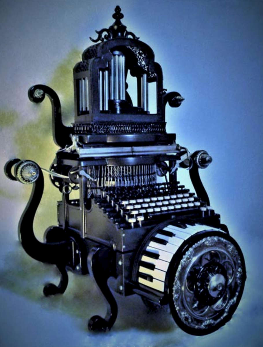 Dave Duros' 'Steampunk Music Composer' won first place in the Adult Division of the 2016 Reclaimed Recycled Art Show.