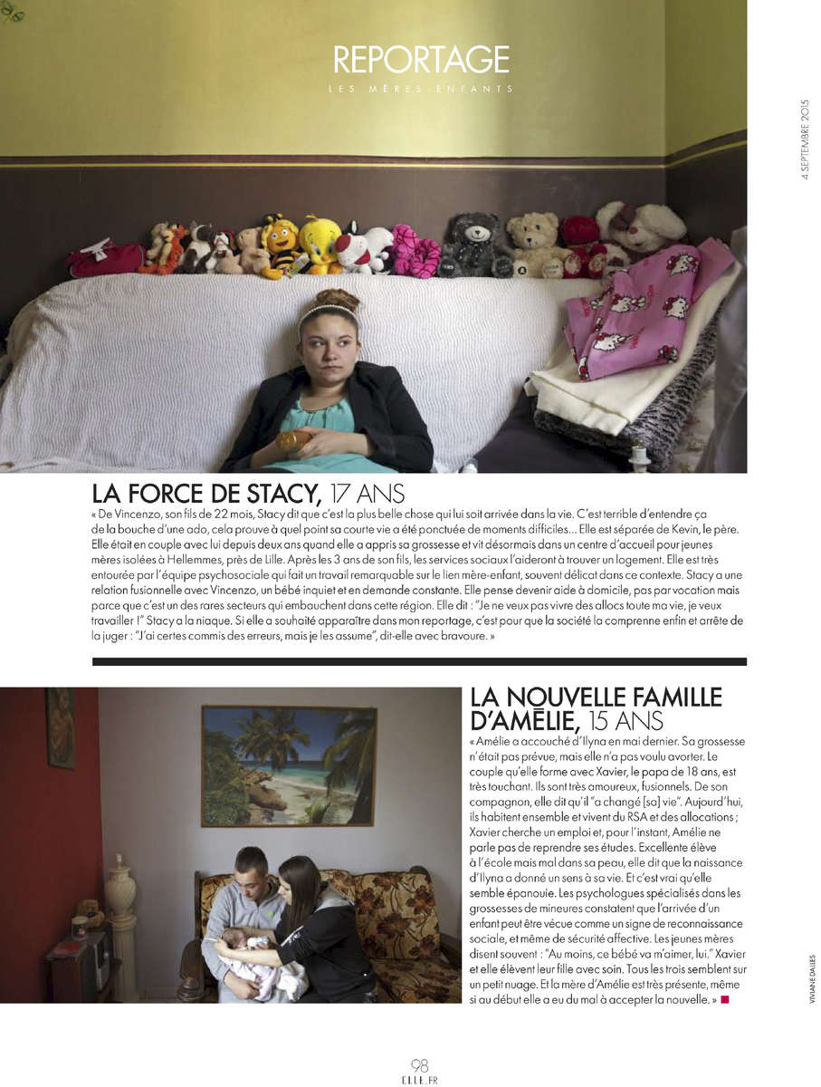 Teenage Motherhood in FranceFrench magazine ELLE, September 2015