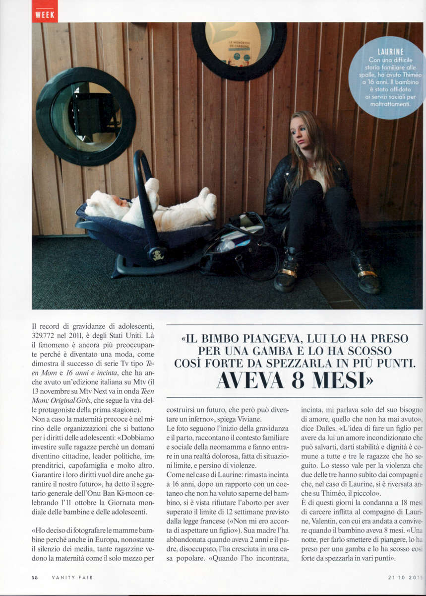 Teenage Motherhood in FranceItalian magazine Vanity Fair, October 2015
