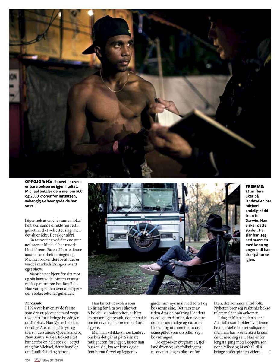 Boxing Tent, AustraliaNorvegian magazine, Vimen, December 2014