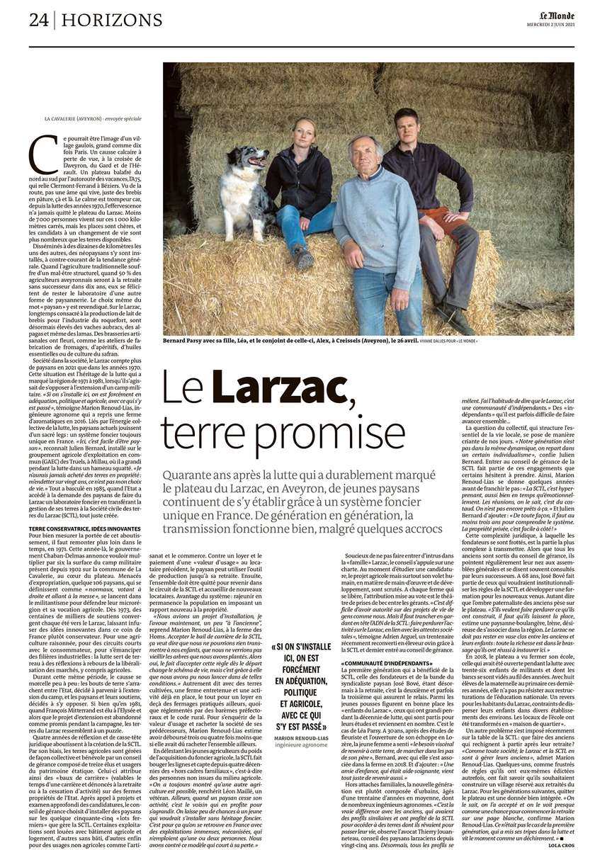 Le Larzac, Terre promise, 2021, article de Lola Cros