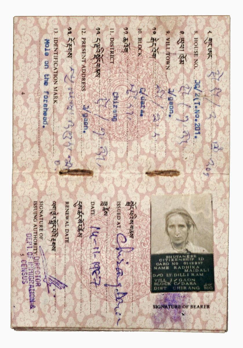 Carte d'identité de Radika Mainali délivrée par le gouvernement du Bhoutan.