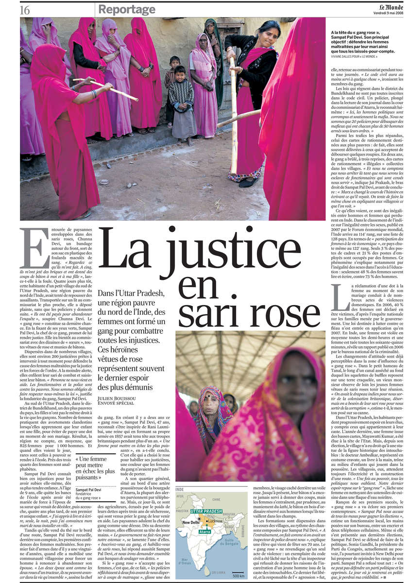 Le Gang Rose, Inde, 2007, Article de Julien Bouissou