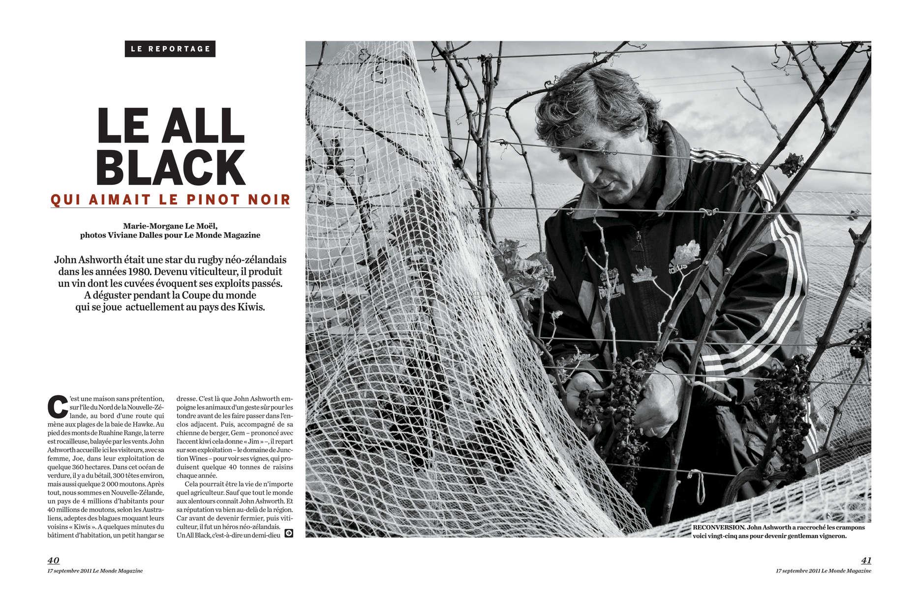 John Ashworth, le All Black devenu vigneron, Nouvelle Zélande, 2011, Article de Morgane Le Moel