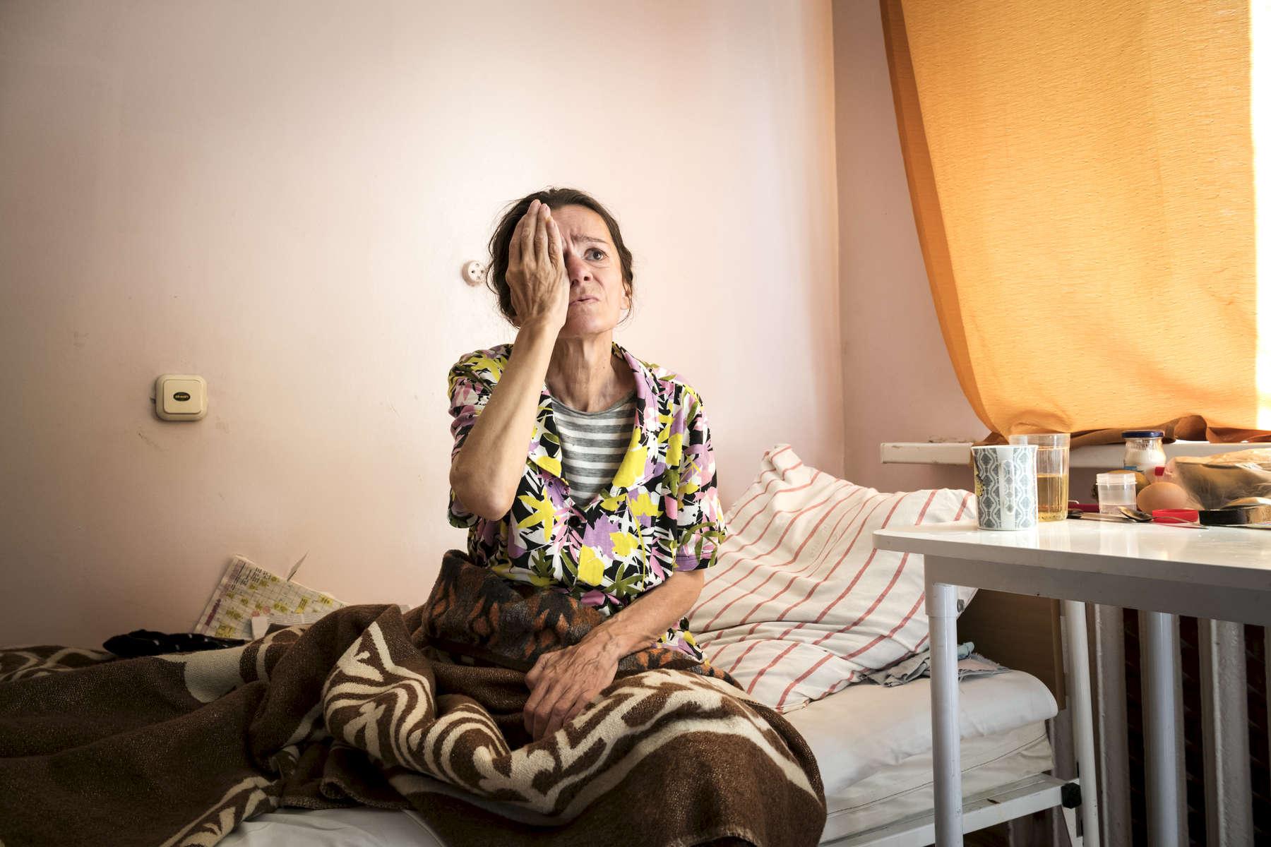 Ludmila pendant un test de performances pratiqué une fois par mois. Institut Républicain de la TB, Minsk, Bielorussie, 2018