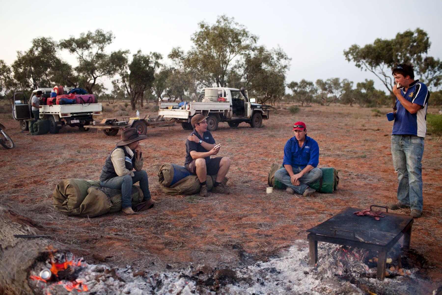 Pendant la période du mustering *qui peut durer jusqu'à trois semaines, l'équipe dort à la belle étoile. TN,  Australie, 2011. *Rassemblement du troupeau