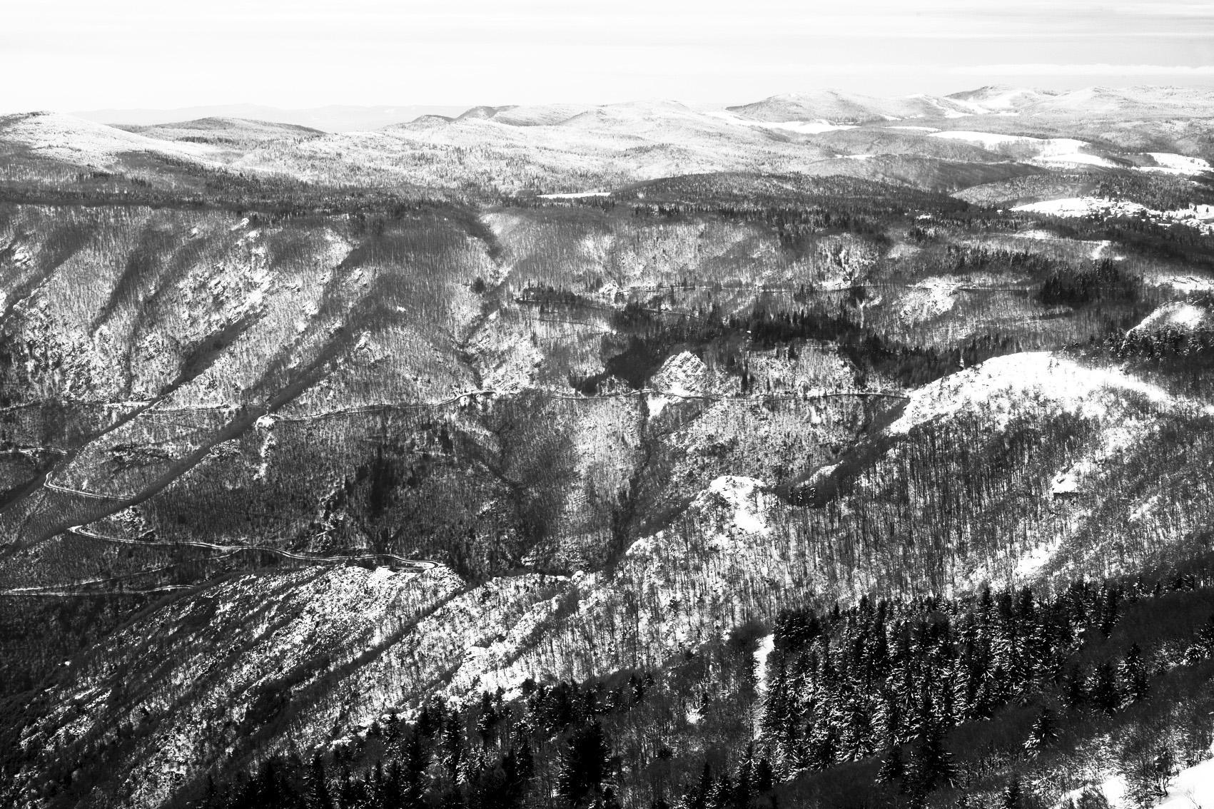 Vue de l'observatoire météorolique du Mont Aigoual, Gard, Lozère, France, 9 Janvier 2021