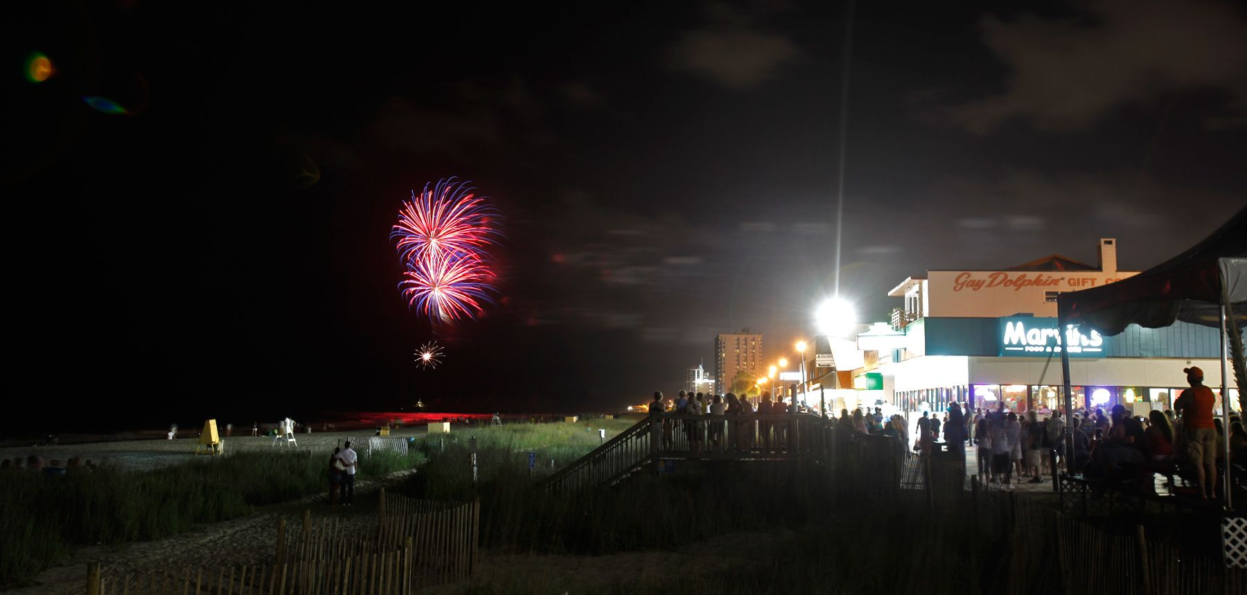Fireworks are just part of the landscape Wednesday evening looking South from Plyler Park during the weekly fireworks display during the summer series Hot Summer Nights in Myrtle Beach.
