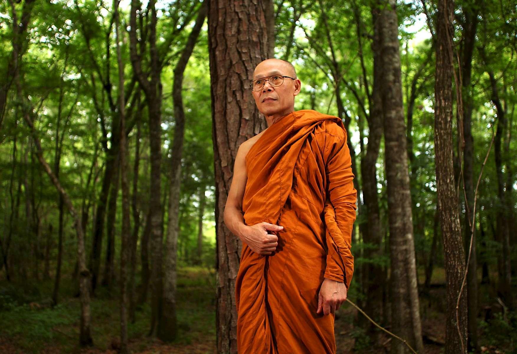 Phra Thiep, a resident monk at Wat Carolina in Bolivia, N.C.
