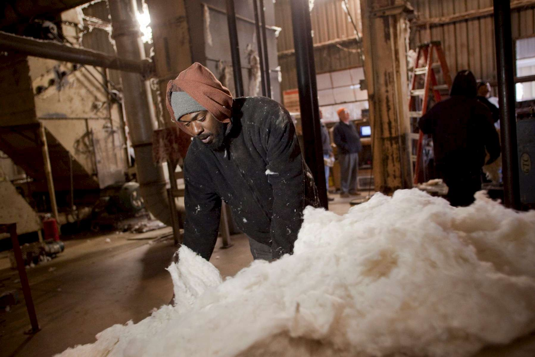 Bagger Chon Thompson sorts through ginned and cleaned cotton at the Minturn Cotton Company in Minturn, South Carolina November 27, 2012. The facility gins cotton after it is harvested to remove the seeds and packages it for shipment. About 80 percent of the cotton ginned at this facility is exported outside the United States.   REUTERS/Randall Hill (UNITED STATES)