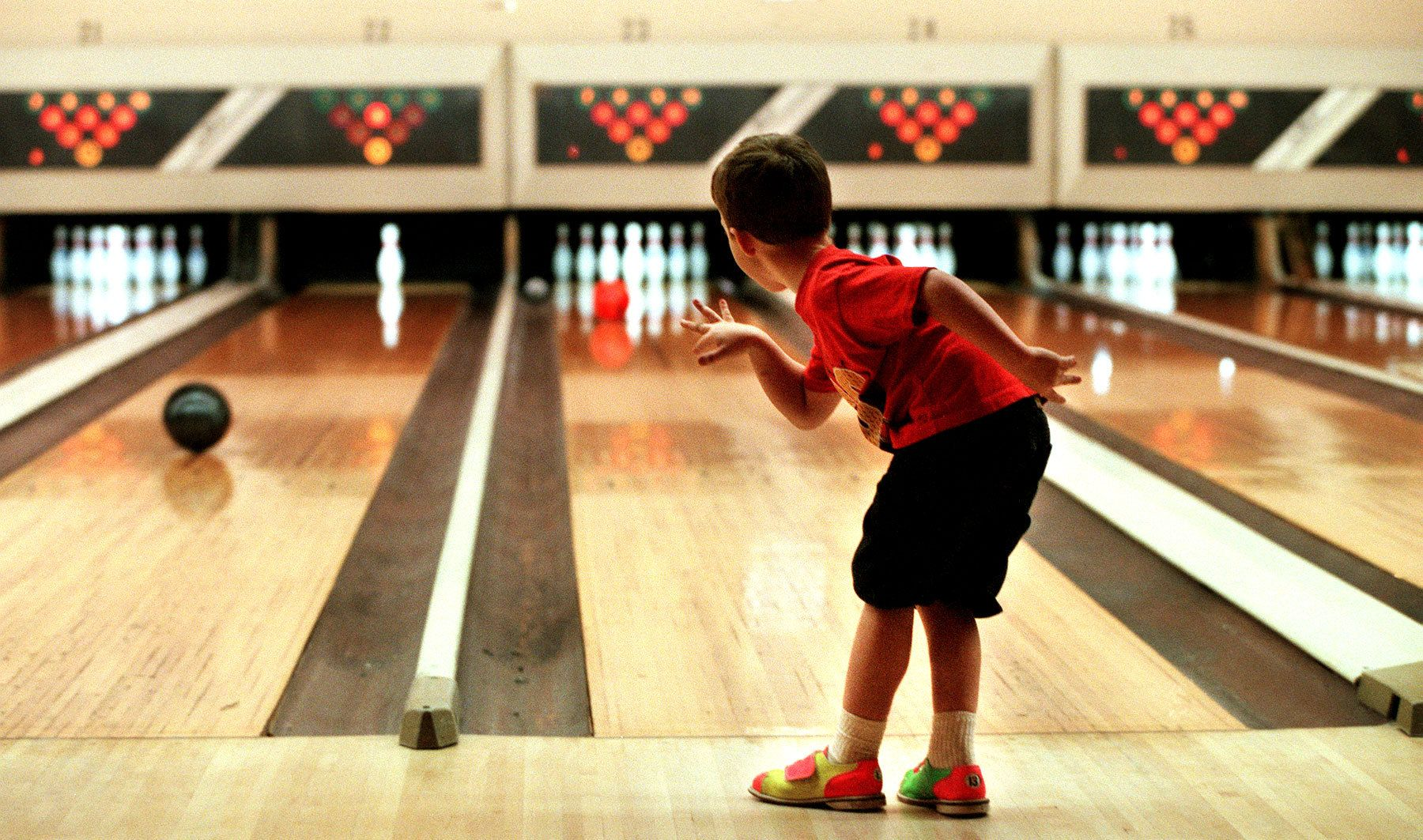 James Pearce, 5 years-old of Conway, bowls with a little body english at Waccamaw Lanes in Myrtle Beach. He is a member of the {quote}Slam Jam{quote} team at the lanes.