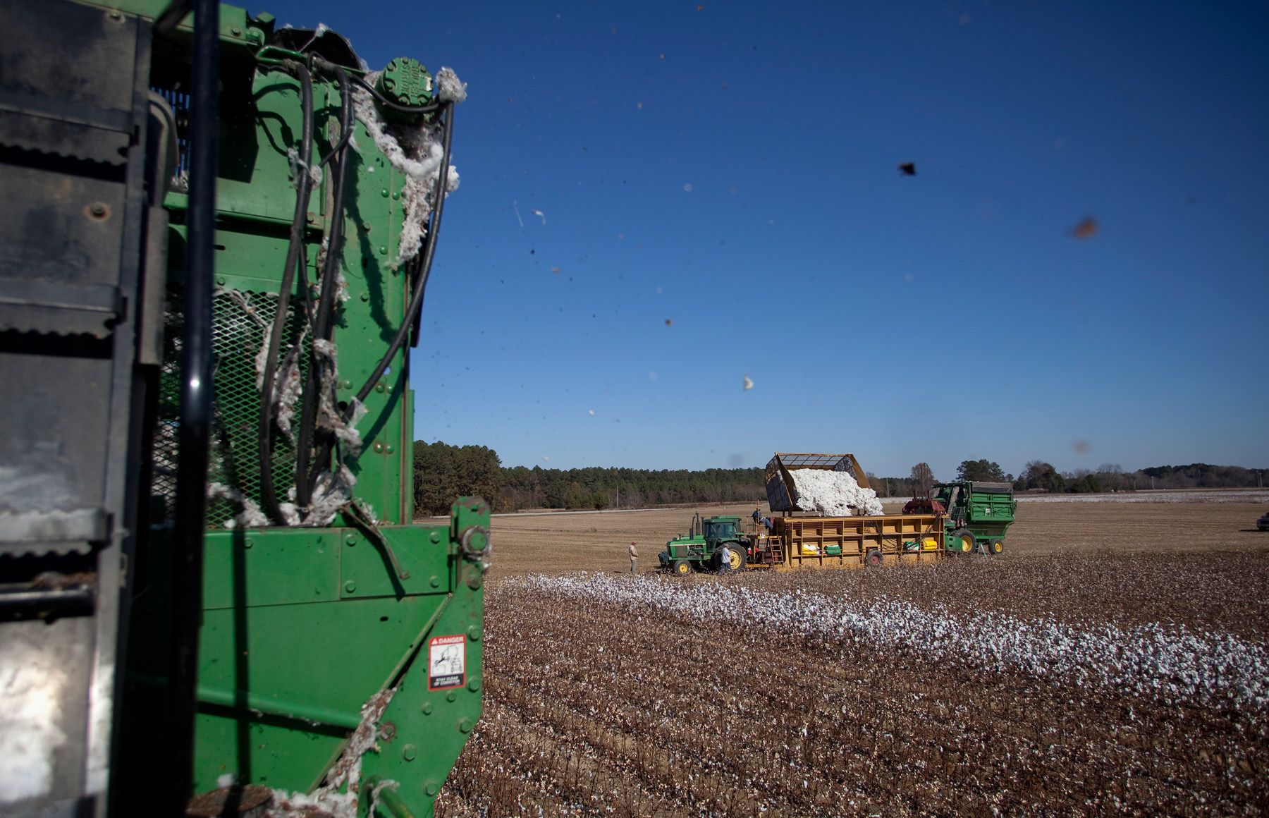 A picker harvests cotton as a crew dumps the picked cotton into a modular builder for Baxley & Baxley Farms on a cotton field in Minturn, South Carolina November 24, 2012. The cotton harvest takes place in South Carolina from October through November and is planted and grows along a corridor approximately 30 miles on each side of Interstate I-95. About 80 percent of the cotton harvested by this farm is exported outside the United States. REUTERS/Randall Hill (UNITED STATES)