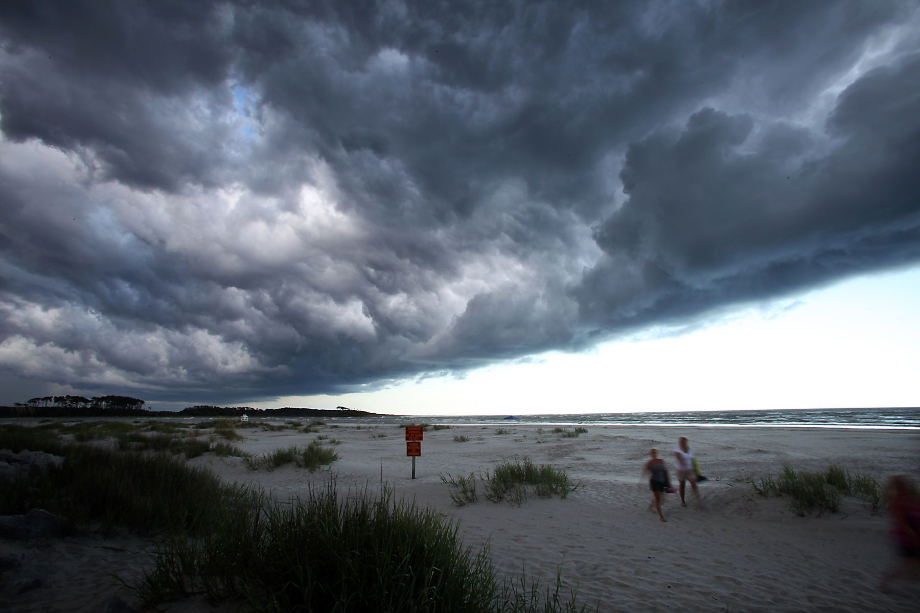 A storm moves fast over the Cherry Grove Point in North Myrtle Beach, S.C.