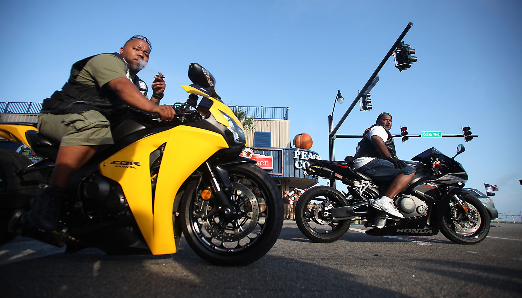 Bikers stop at a traffic light as they cruise down North Ocean Boulevard Thursday evening May 24, 2012, in Myrtle Beach during the Atlantic Beach Memorial Day Bikefest. Although centered in nearby Atlantic Beach, the Bikefest has spread to neighboring beaches in the Grand Strand region of South Carolina. (Photo By Randall Hill / For The Washington Post)
