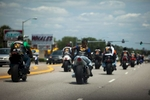 Bikers cruise down Kings Highway during the 2015 Atlantic Beach Memorial Day BikeFest in Myrtle Beach, South Carolina May 22, 2015. After three people were killed and seven wounded in shootings during 2014 Bikefest, State officials called for an end to the event that draws thousands to the family-friendly beach town.Their efforts were unsuccessful. Bikers returned to Myrtle Beach - just a week after a bloody motorcycle gang shootout in Waco, Texas. But this time authorities are more prepared, with dozens of new surveillance cameras and a police force three times the size of last year's.    REUTERS/Randall Hill