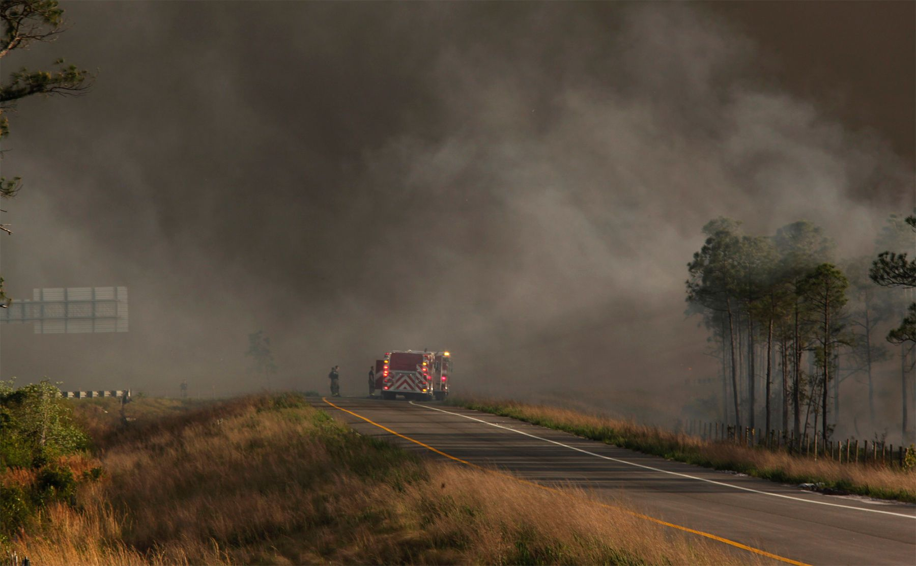 Firemen battle the brush fire at an exit ramp onto Highway 31 from Water Tower Road Wednesday in Horry County.