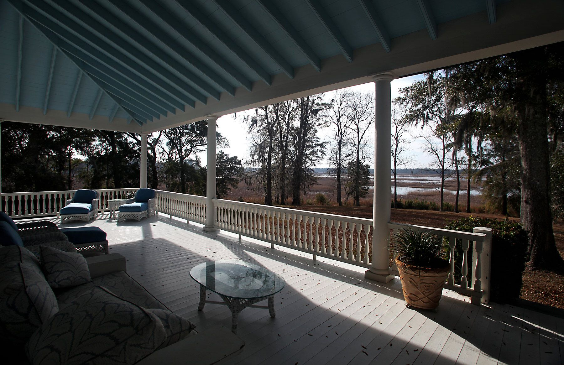 The view from a porch overlooks the former rice fields at the main house at Silver Hill Plantation February 17, 2012, in Georgetown, S.C. The house that was restored in 1999 by the current owners of the property. Silver Hill is listed for sale with Friendfield Plantation that includes 3264 acres of land along the marsh outside in Georgetown, S.C. In the South Carolina Lowcountry, more than a half-dozen antebellum plantations, which don't change hands often, are for sale.REUTERS/Randall Hill