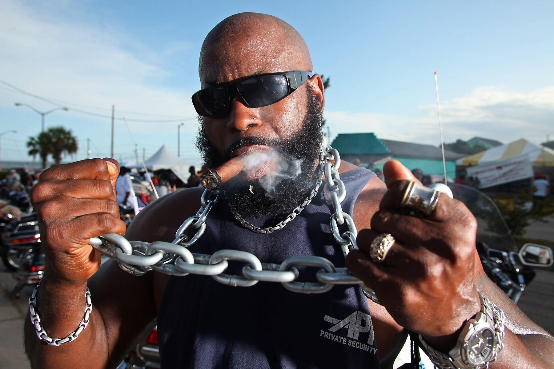 Biker Antwon {quote}Zeus{quote} Harris, of Fayetteville, North Carolina, poses for the camera during the 2012 Atlantic Beach Bikefest May 25, 2012, in Atlantic Beach, South Carolina. The biker festival is one of two rallies in the Myrtle Beach area during the month of May. The annual Harley-Davidson Motorcycle Spring Rally was held the week before.  REUTERS/Randall Hill