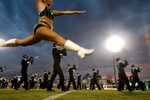 The Chanticleers Marching Band performs before the start of action between Coastal Carolina and VMI Saturday at Brooks Stadium.