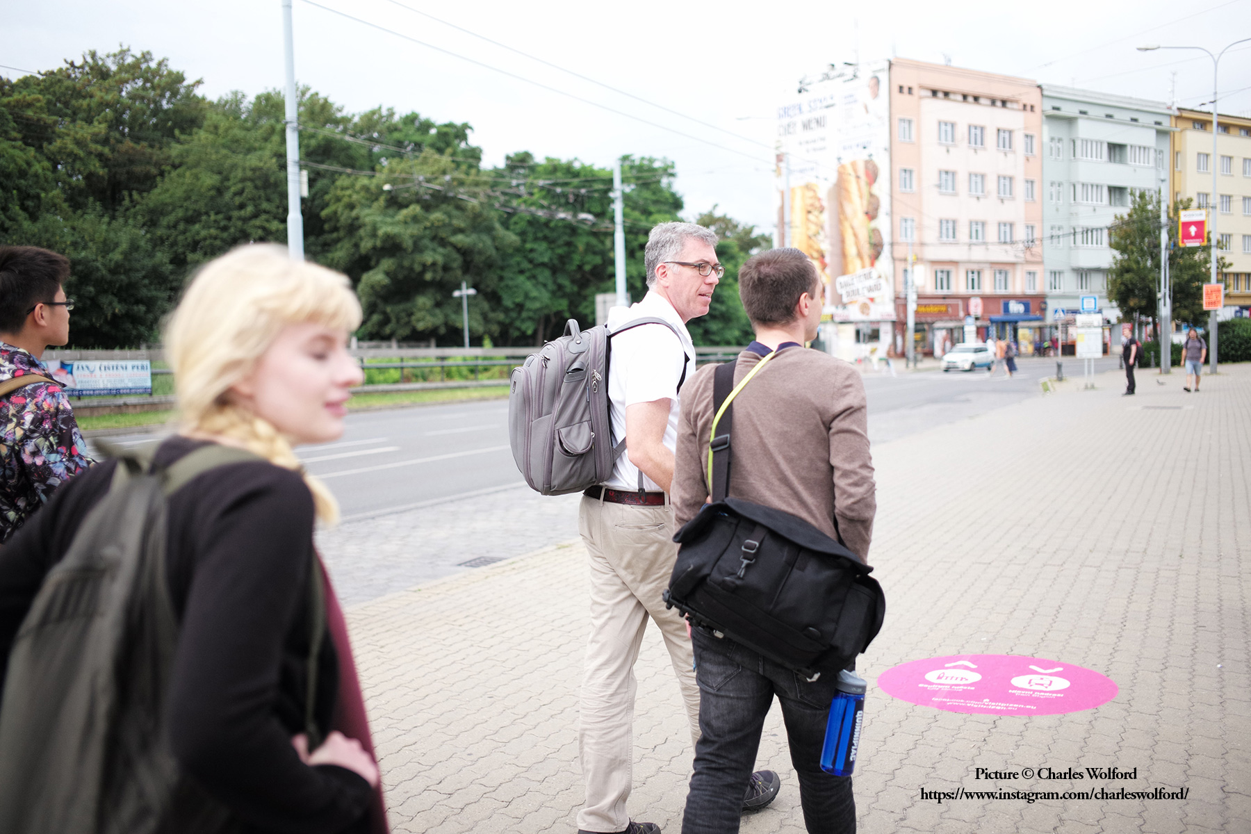 A snapshot from my time at a foreign correspondence workshop in Prague. Here, I am walking with the group to an interview session in Plzen. Plzen, Czechia, July 2016. Picture by Charles Wolford.