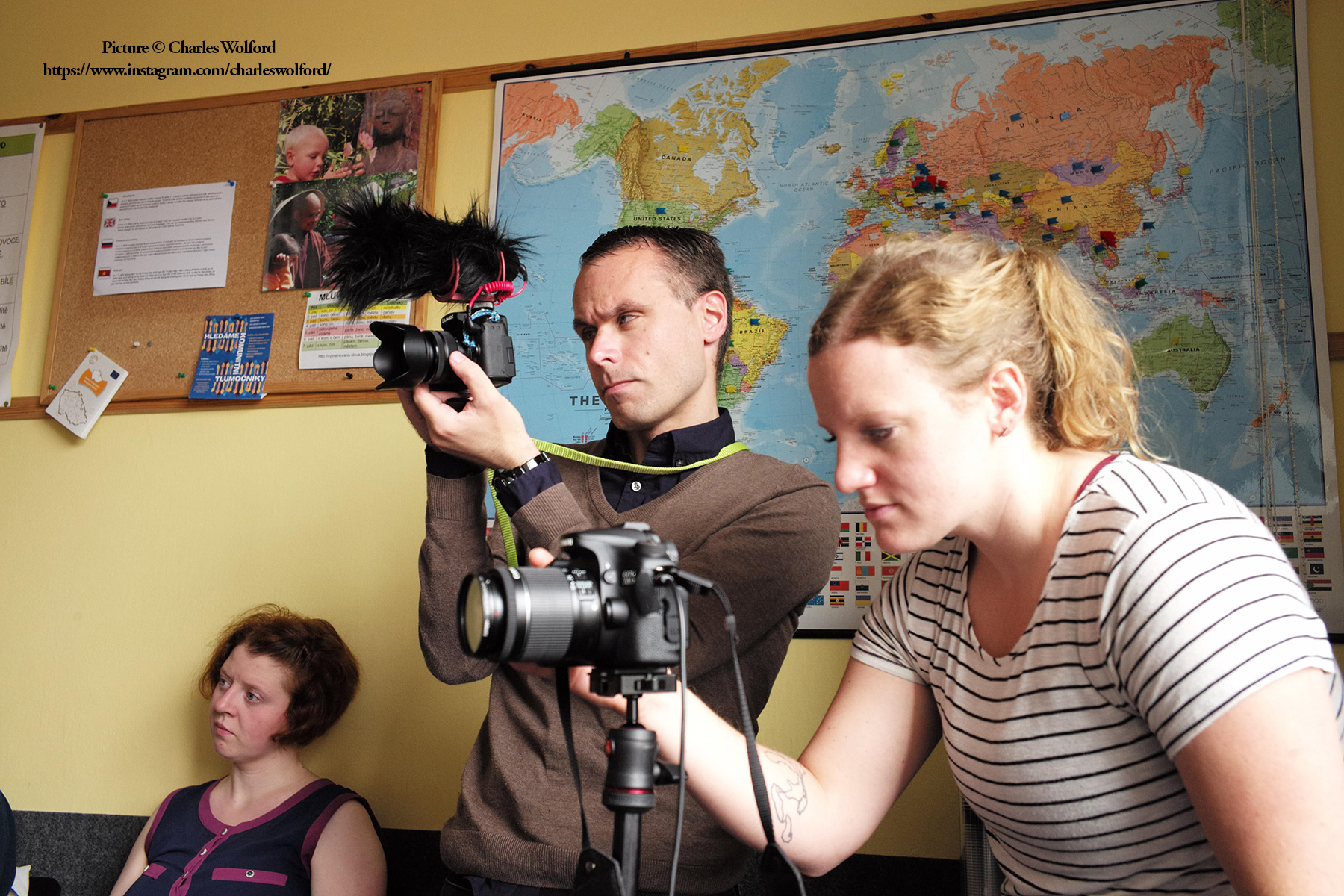 A snapshot from my time at a foreign correspondence workshop in Prague. Here, I am walking with the group filming an interview session in Plzen. Plzen, Czechia, July 2016. Picture by Charles Wolford.