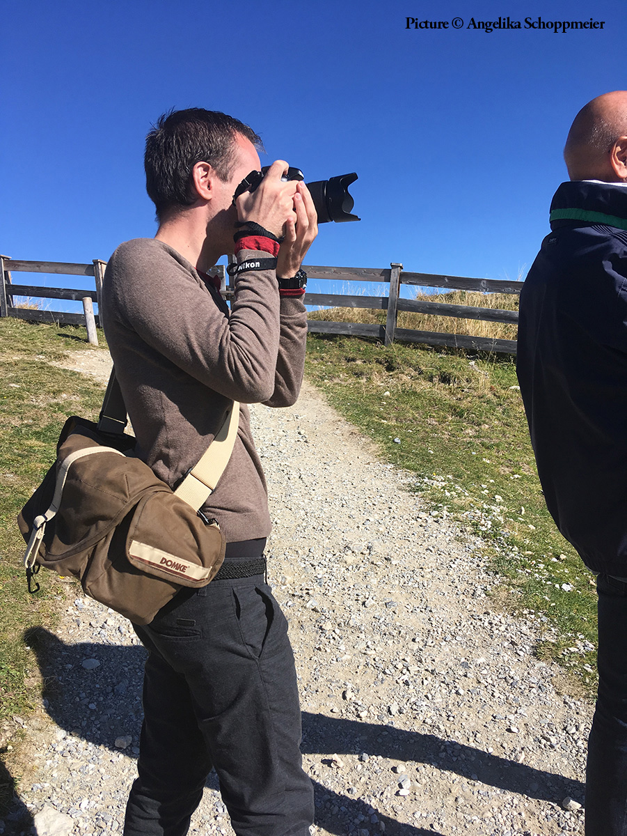 """A look behind the scenes of my personal project """"Family Journeys."""" Here, I am photographing my parents on the Penken mountain. Mayrhofen, Austria, October 2018. Picture by Angelika Schoppmeier."""