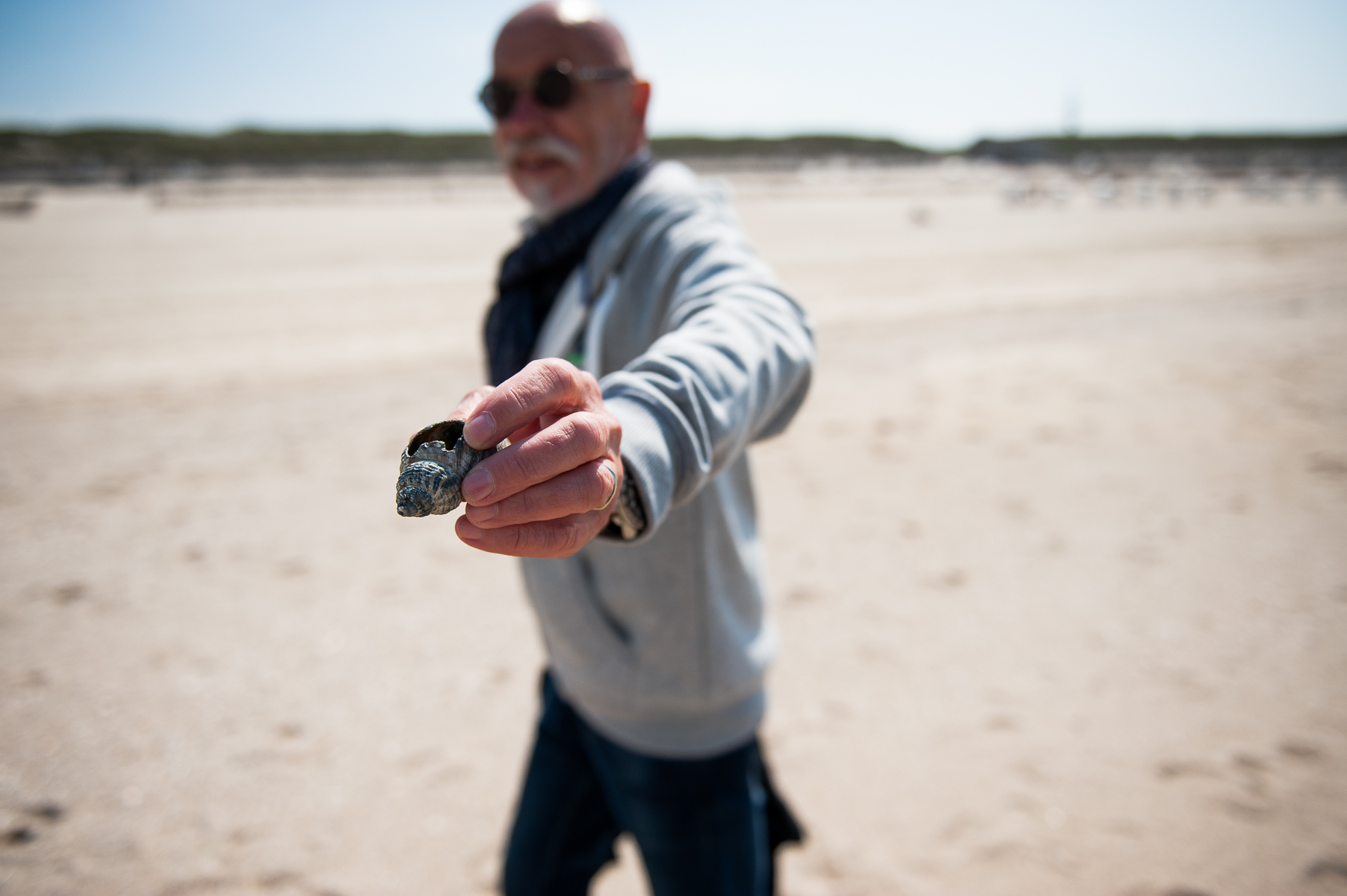 Dad shows a clamshell he found on the beach. Westerland, Germany, May 23, 2019.