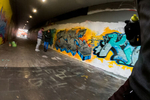 Sunday is long-run day. Pictured here is a scene from a run that brought me all the way to Duisburg, where the green trail mentioned before ends.Here, a couple of graffiti sprayers stand in an underpass that crosses an autobahn. Duisburg, Germany, December 22, 2019.