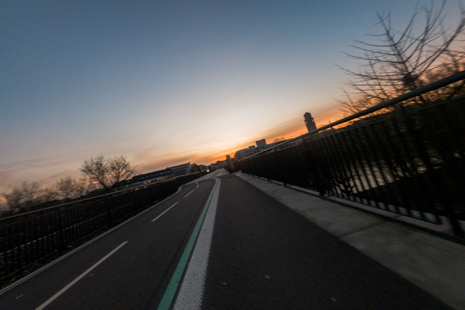 Quiet sunrise on the bike expressway, a special bike and pedestrian street that crosses through Mülheim. Germany, March 18, 2020.