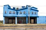 Arquitectura Libre, blue house on  the outskirts of Toluca comming from Nevado de Toluca, Estado de Mexico, Mexico
