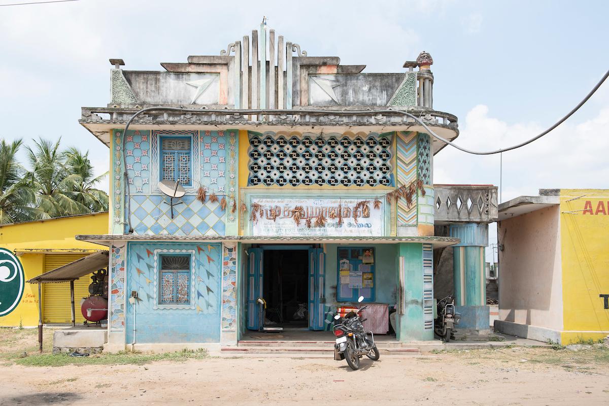Muthukumaran's grandfather built this art deco rice mill in 1973. Free Architecture, on the road from Tiruvannamalai to Pondicherry, Nangligondan, Villupuram District, Tamilnadu, India