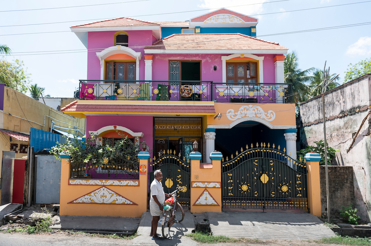 Raja Aman outside of his house. Free Architecture, the mostly Muslim town of Sirkali, Tamilnadu, India